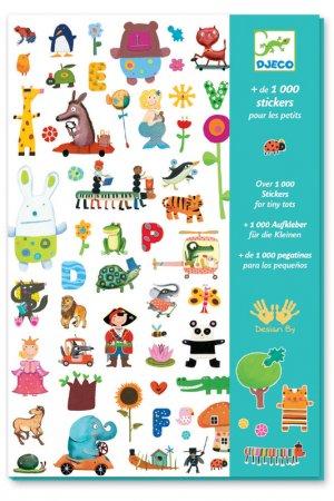 1000 наклеек для малышей Djeco. Цвет: белый, салатовый