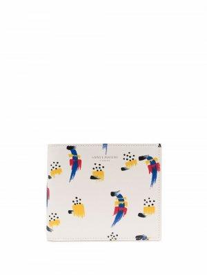 Кошелек с абстрактным узором Saint Laurent. Цвет: нейтральные цвета