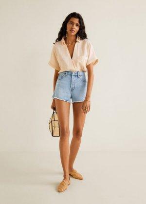 Джинсовые шорты с бахромой - Iconic Mango. Цвет: светло-синий