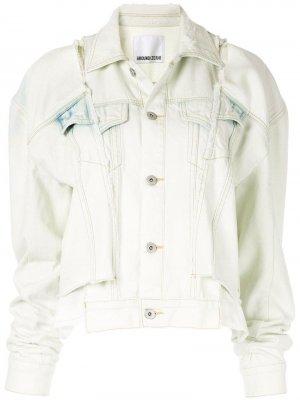 Джинсовая куртка с прорезями и приспущенными плечами Ground Zero. Цвет: белый