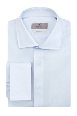 Рубашка из хлопка с обработкой Impeccabile под запонки CANALI. Цвет: голубой