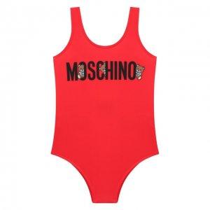 Слитный купальник Moschino Kid. Цвет: красный