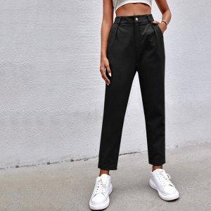 Прямые брюки SHEIN. Цвет: чёрный