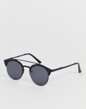 Круглые солнцезащитные очки с верхней планкой Only & Sons. Цвет: зеленый