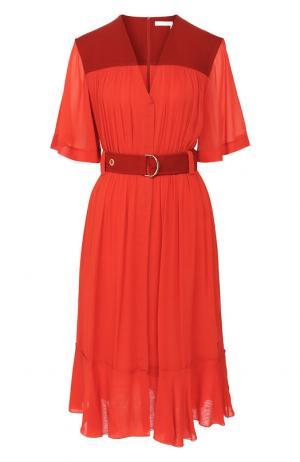 Платье-миди с поясом и V-образным вырезом Chloé. Цвет: красный