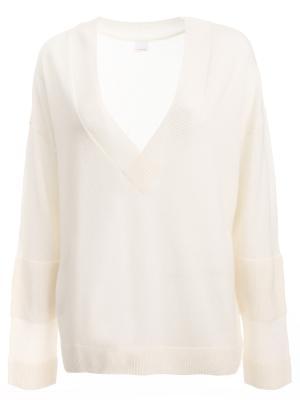 Пуловер из кашемира HUGO BOSS. Цвет: белый
