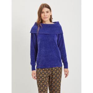 Пуловер трикотажный с открытыми плечами VILA. Цвет: фиолетово-синий