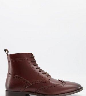 Коричневые кожаные броги на черной подошве для широкой стопы Wide Fit-Коричневый цвет ASOS DESIGN