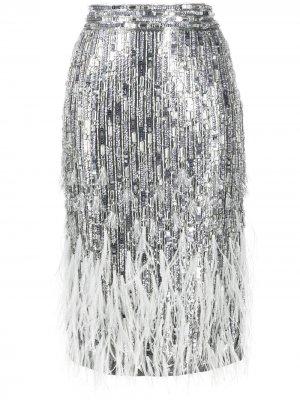 Декорированная юбка-карандаш Amen. Цвет: серебристый