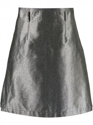 Юбка с эффектом металлик и ремешками Comme Des Garçons Homme Plus. Цвет: серебристый