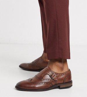 Коричневые кожаные монки для широкой стопы с отделкой -Коричневый ASOS DESIGN