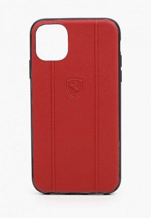 Чехол для iPhone Ferrari 11, Stamped logo Embossed lines Leather Red. Цвет: красный