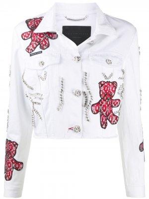 Джинсовая куртка с принтом Teddy Bear Philipp Plein. Цвет: белый