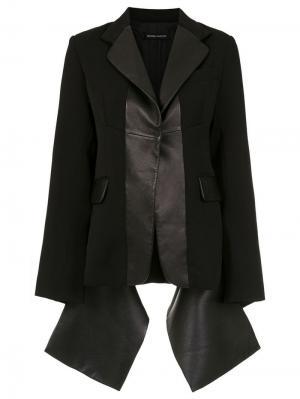 Leather panelled blazer Gloria Coelho. Цвет: черный