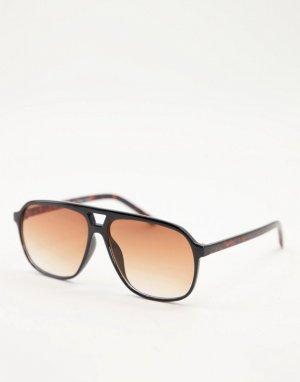 Большие солнцезащитные очки-авиаторы в черной оправе стиле унисекс -Черный цвет AJ Morgan