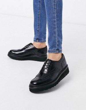 Черные кожаные броги на платформе с черной подошвой -Черный цвет Grenson