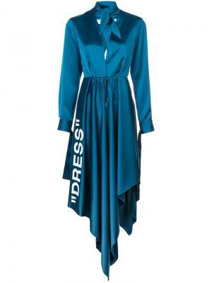 Платье с V-образной горловиной принтом Off-White. Цвет: синий