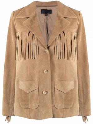 Кожаная куртка Carter с бахромой Nili Lotan. Цвет: нейтральные цвета