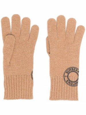 Перчатки с логотипом Burberry. Цвет: коричневый