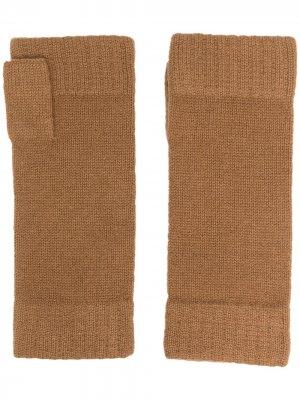 Кашемировые перчатки-митенки N.Peal. Цвет: коричневый