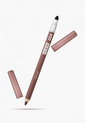Карандаш для губ Pupa TRUE LIPS т.004 чистый коричневый , 1.2 г.. Цвет: коричневый