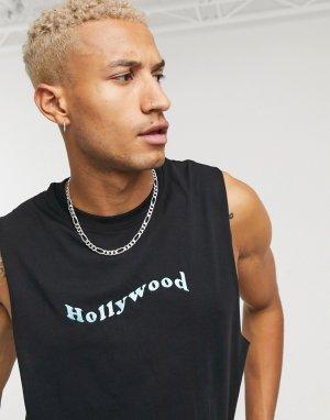 Майка с вышитой надписью Hollywood -Черный Urban Threads