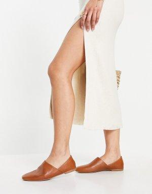 Светло-коричневые кожаные туфли-слипоны Ayden-Коричневый цвет Vagabond
