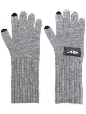Трикотажные перчатки с логотипом Kenzo. Цвет: серый