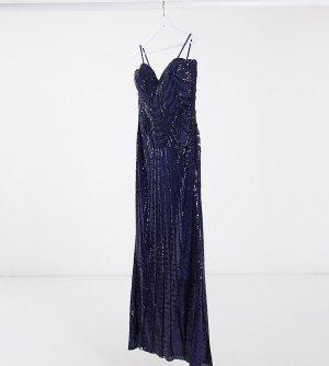 Темно-синее платье-бандо с пайетками и разрезом -Темно-синий Goddiva Plus