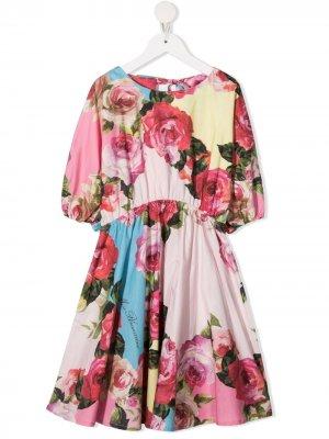 Расклешенное платье с цветочным принтом Miss Blumarine. Цвет: розовый