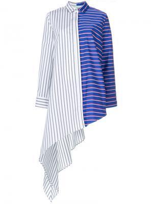 Асимметричная рубашка в полоску Off-White. Цвет: разноцветный