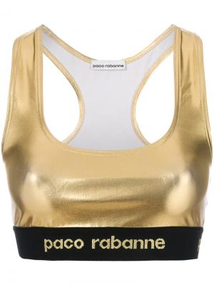 Эластичный укороченный топ Paco Rabanne. Цвет: металлик