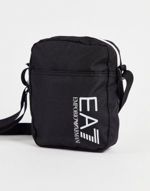 Черная маленькая спортивная сумка с логотипом Armani Train Core-Черный цвет EA7