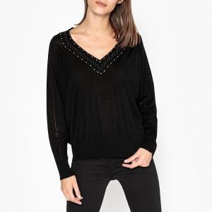Пуловер с V-образным вырезом из тонкого трикотажа STAN BERENICE. Цвет: черный
