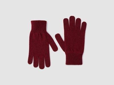 Перчатки из смесовой шерсти с добавлением кашемира Benetton. Цвет: красный