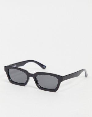 Солнцезащитные очки в черной квадратной оправе со скошенными углами и дымчатыми стеклами -Черный цвет ASOS DESIGN