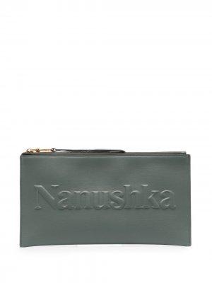Кошелек с тисненым логотипом Nanushka. Цвет: зеленый