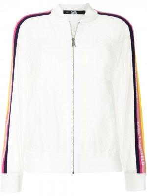 Бомбер на молнии с логотипом Karl Lagerfeld. Цвет: белый