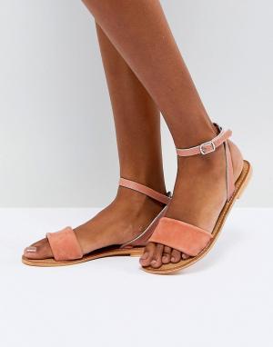 Кожаные сандалии ASOS FLORENCE DESIGN. Цвет: оранжевый