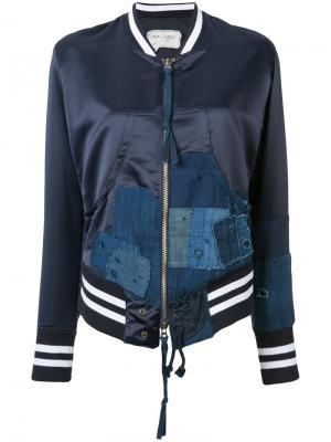 Куртка-бомбер с джинсовыми заплатками Greg Lauren. Цвет: синий