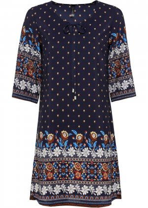Платье с орнаментом bonprix. Цвет: синий