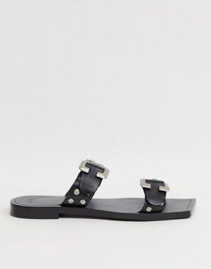 Черные кожаные мюли с квадратным носком и пряжкой BRONX-Черный цвет Bronx
