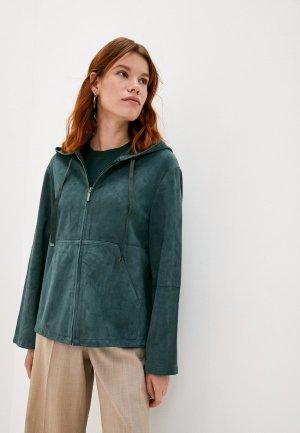 Куртка кожаная Weekend Max Mara MIGLIO. Цвет: зеленый