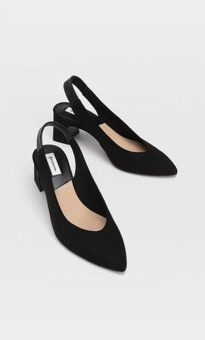 Туфли-Мюли На Каблуке И С Острым Носом Черный 38 Stradivarius. Цвет: черный