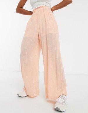Персиковые брюки с широкими штанинами и эффектом металлик -Розовый Elvi