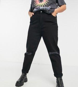 Черные выбеленные джинсы в винтажном стиле с завышенной талией и рваной отделкой на коленях Wednesdays Girl Curve-Черный цвет Wednesday's Curve