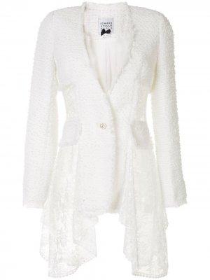 Двубортный пиджак Edward Achour Paris. Цвет: белый