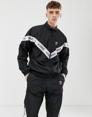Черная спортивная куртка с кантом -Черный K-Swiss