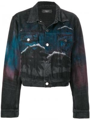 Джинсовая куртка с принтом ночного пейзажа Amiri. Цвет: черный