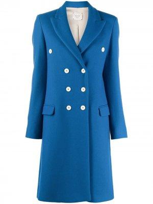 Двубортное пальто Alysi. Цвет: синий